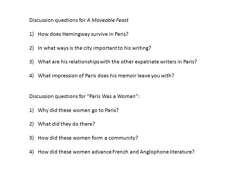 Discussion questions for A Moveable Feast