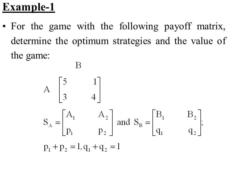 Example-1 For the game with the following payoff matrix, determine the optimum strategies and the value of the game: