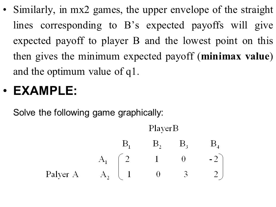 Solve the following game graphically: