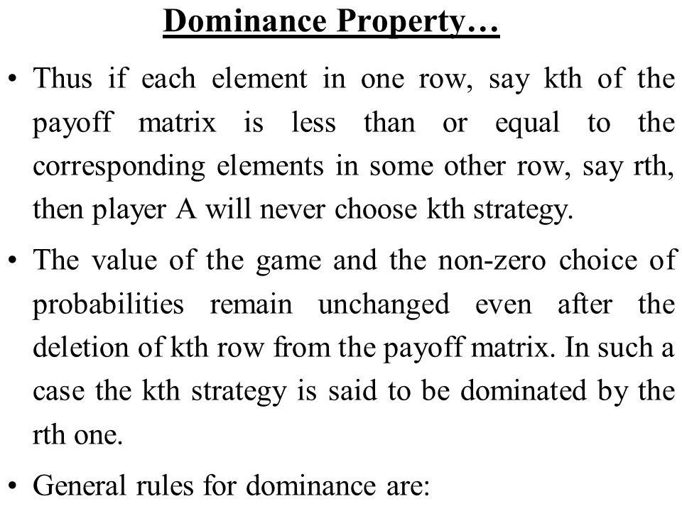 Dominance Property…