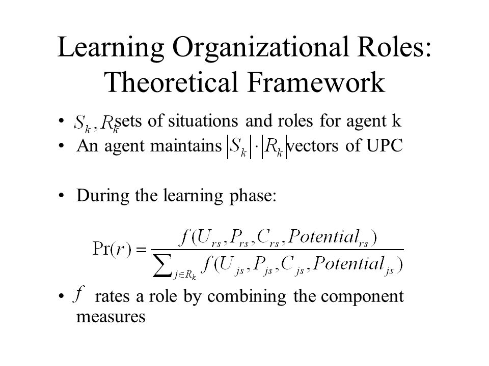 Learning Organizational Roles: Theoretical Framework
