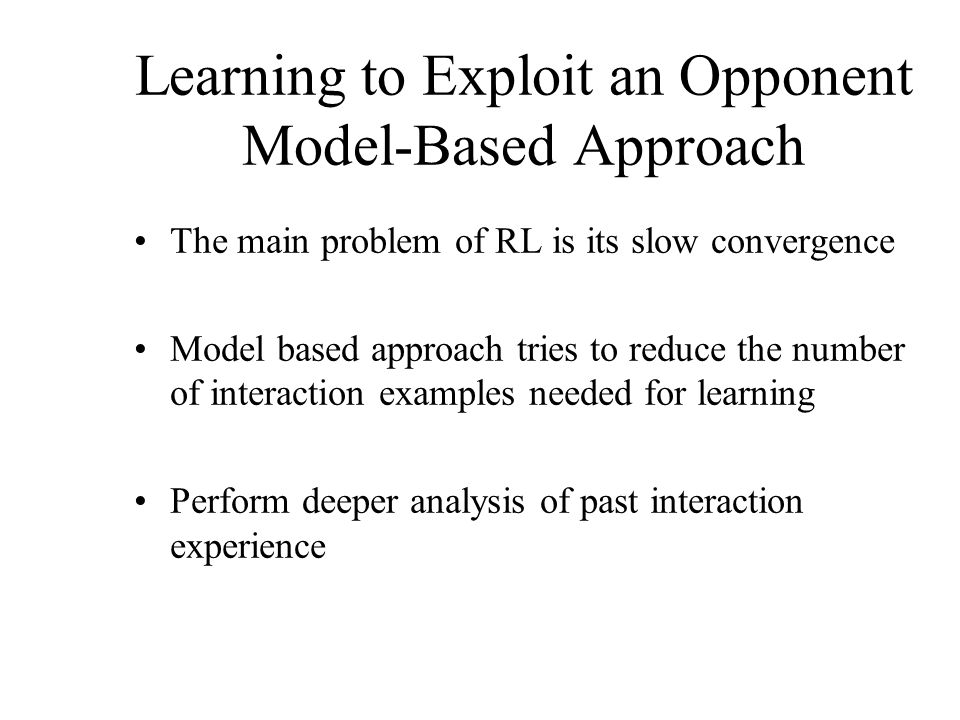 Learning to Exploit an Opponent Model-Based Approach