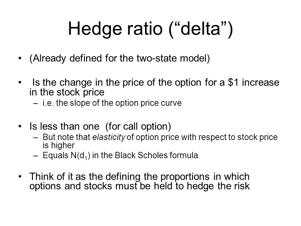 Hedge ratio ( delta ) (Already defined for the two-state model)