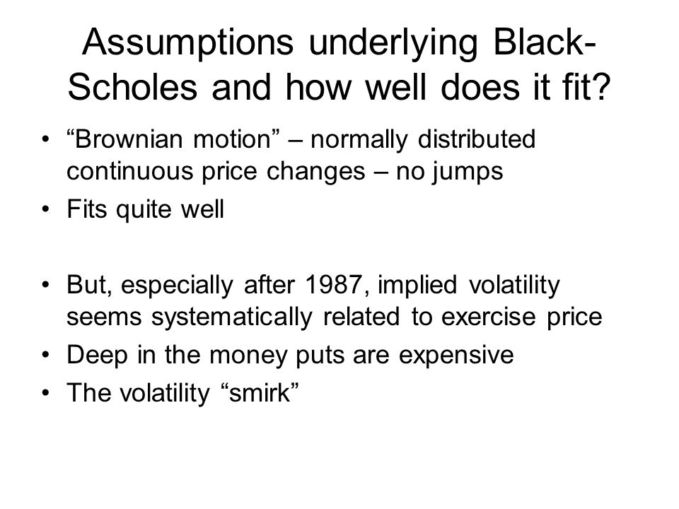 Assumptions underlying Black-Scholes and how well does it fit