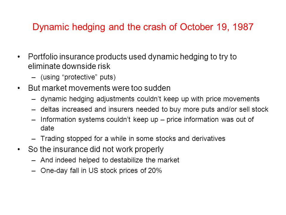 Dynamic hedging and the crash of October 19, 1987
