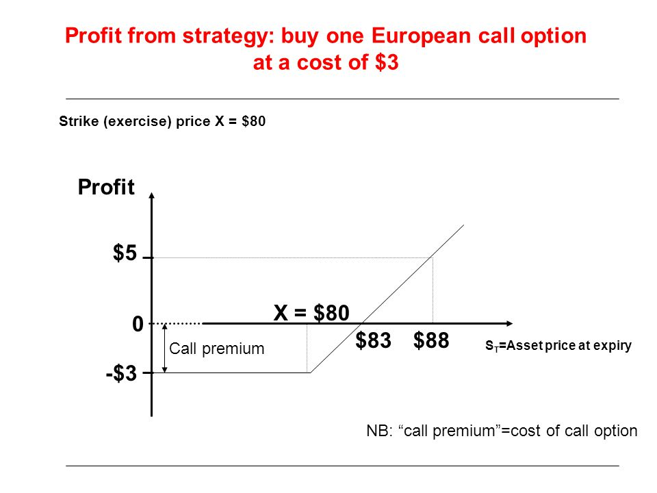 Profit from strategy: buy one European call option at a cost of $3