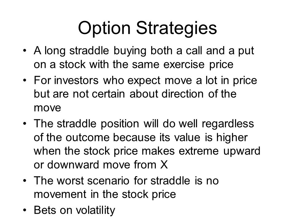 Option Strategies A long straddle buying both a call and a put on a stock with the same exercise price.
