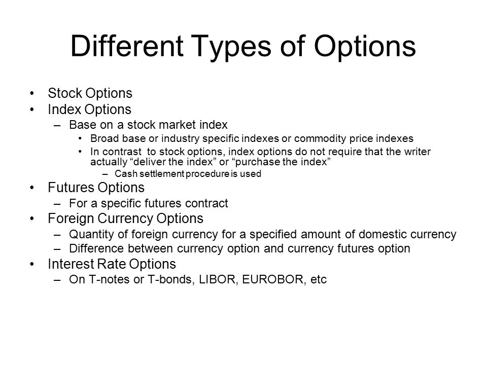 Different Types of Options