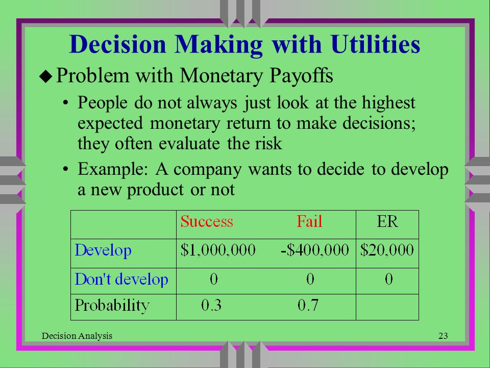 Decision Making with Utilities