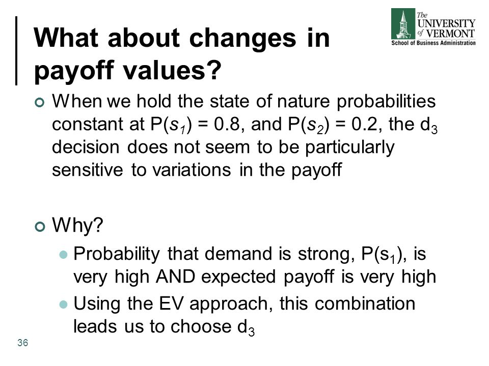 What about changes in payoff values