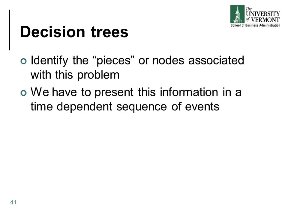 Decision trees Identify the pieces or nodes associated with this problem.