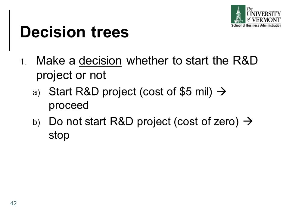Decision trees Make a decision whether to start the R&D project or not