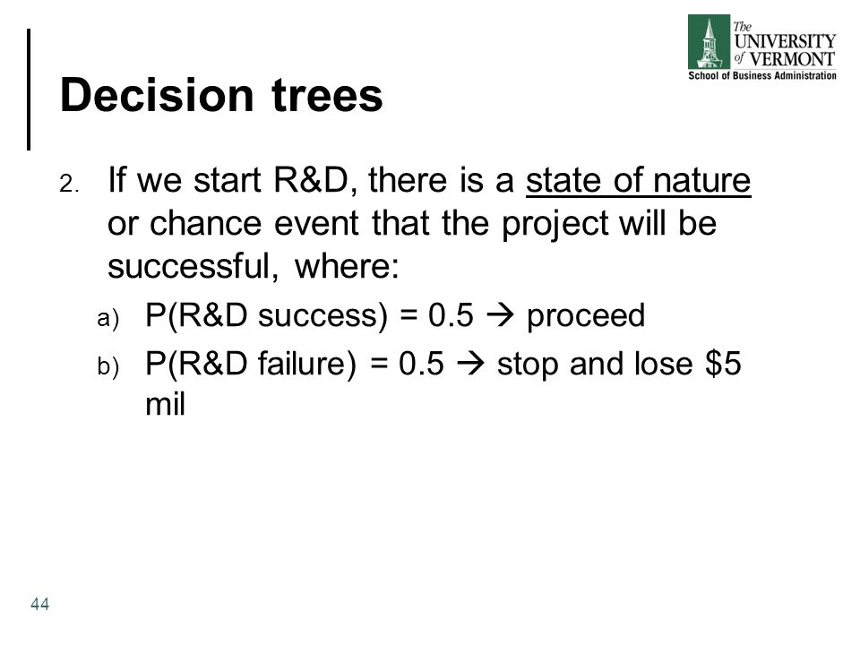 Decision trees If we start R&D, there is a state of nature or chance event that the project will be successful, where: