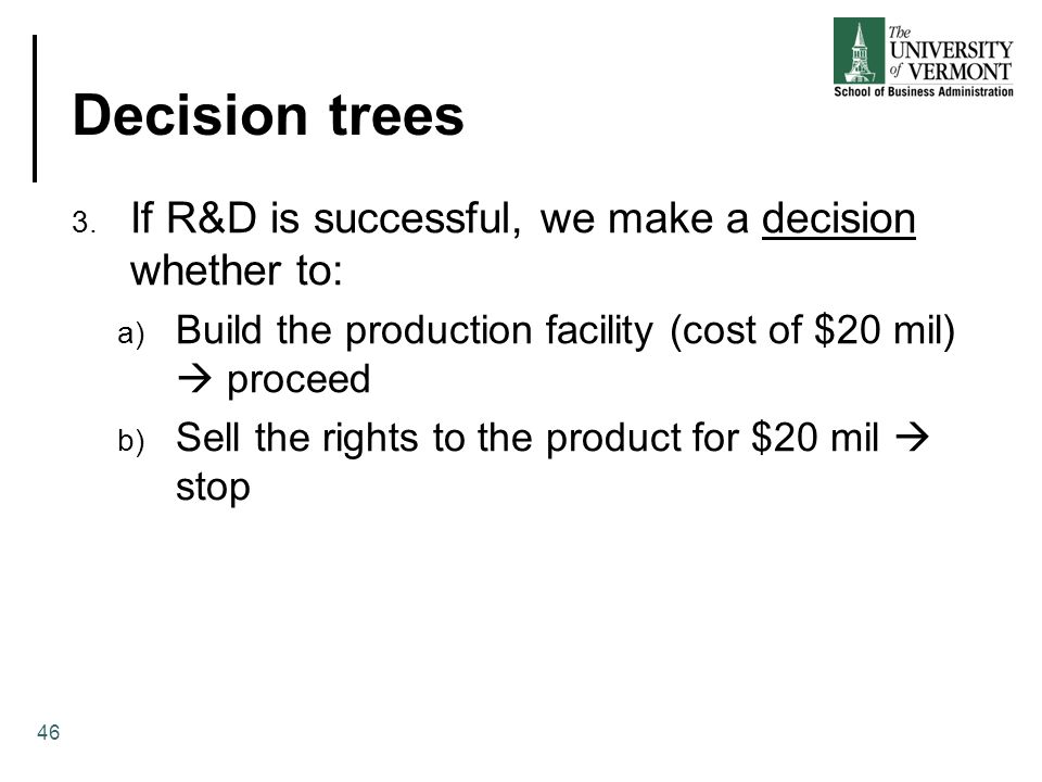 Decision trees If R&D is successful, we make a decision whether to: