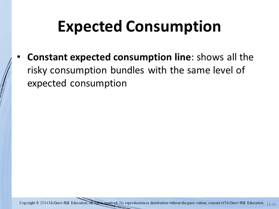 Expected Consumption Constant expected consumption line: shows all the risky consumption bundles with the same level of expected consumption.