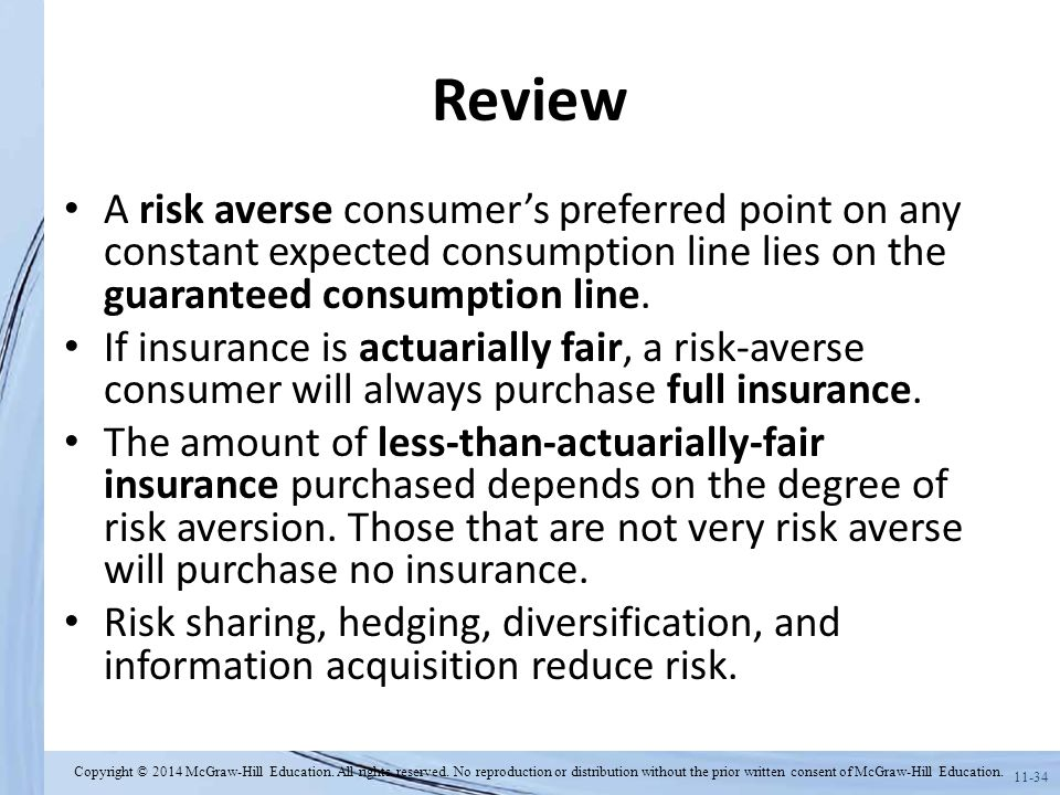 Review A risk averse consumer's preferred point on any constant expected consumption line lies on the guaranteed consumption line.