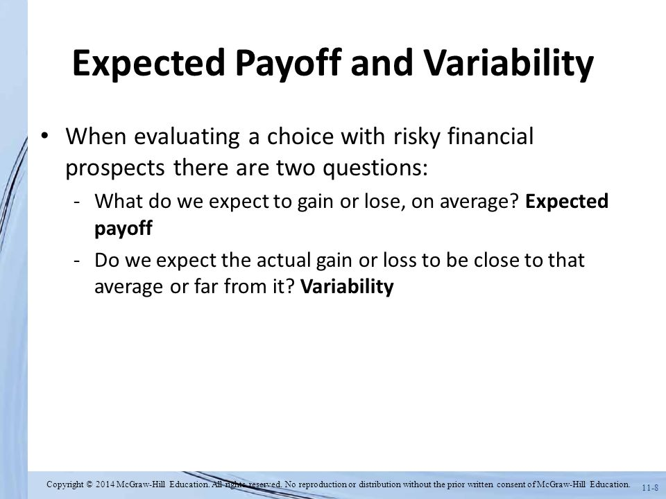 Expected Payoff and Variability