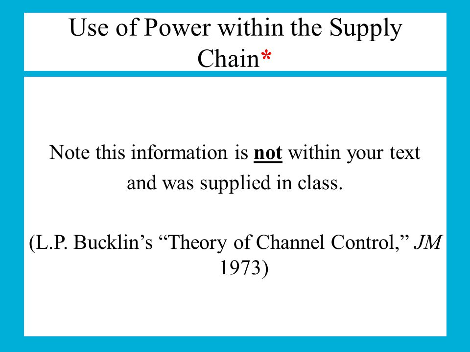 Use of Power within the Supply Chain*