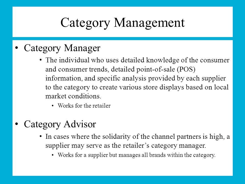 Category Management Category Manager Category Advisor