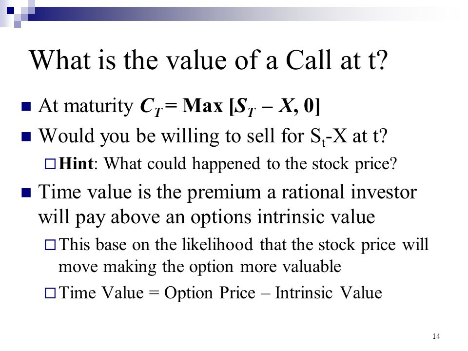 What is the value of a Call at t