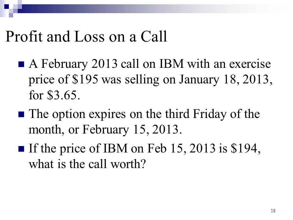 Profit and Loss on a Call