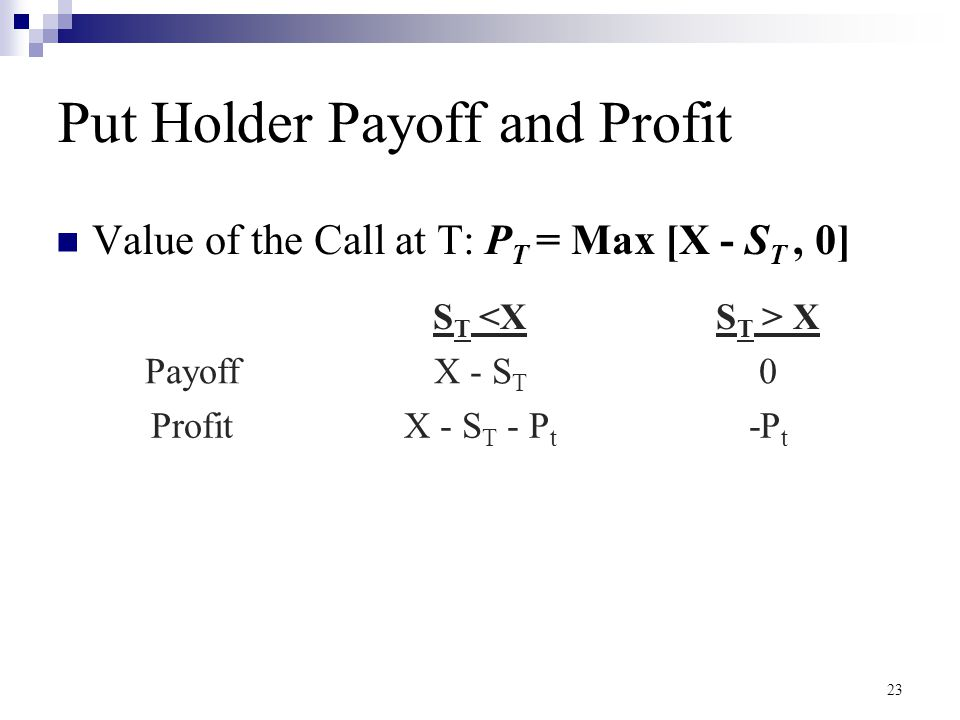 Put Holder Payoff and Profit
