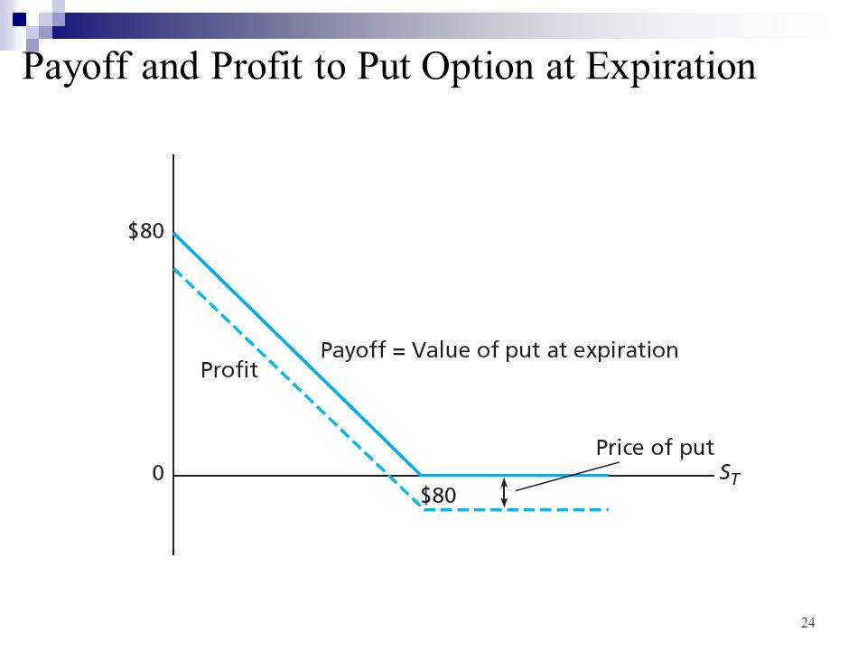 Payoff and Profit to Put Option at Expiration