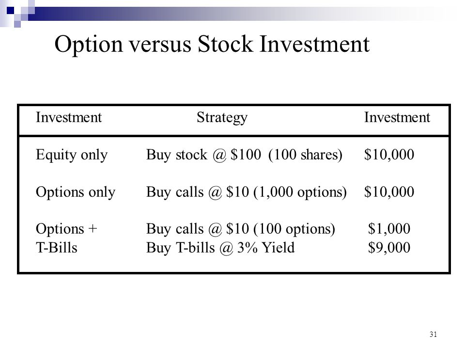 Option versus Stock Investment