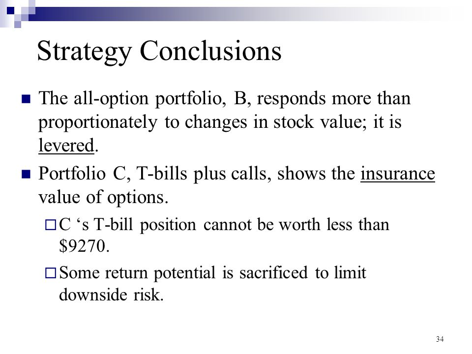 Strategy Conclusions The all-option portfolio, B, responds more than proportionately to changes in stock value; it is levered.