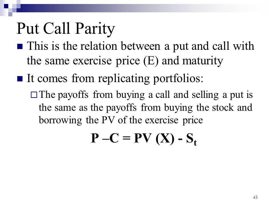 Put Call Parity P –C = PV (X) - St