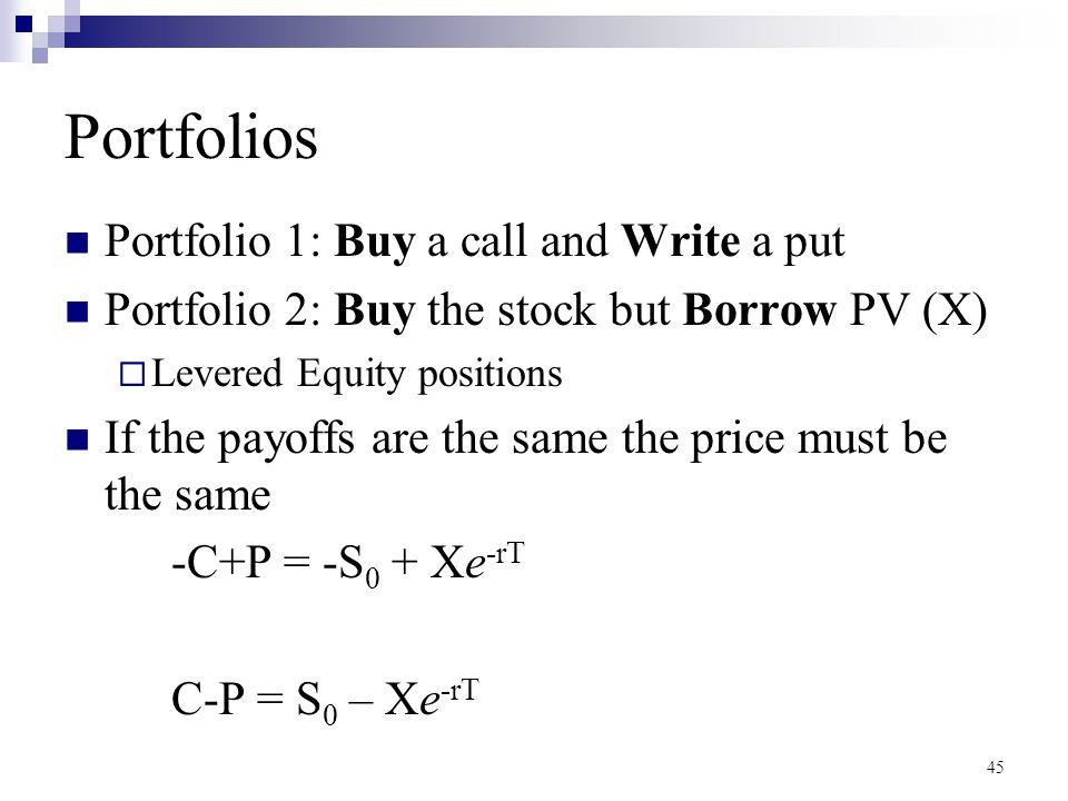 Portfolios Portfolio 1: Buy a call and Write a put