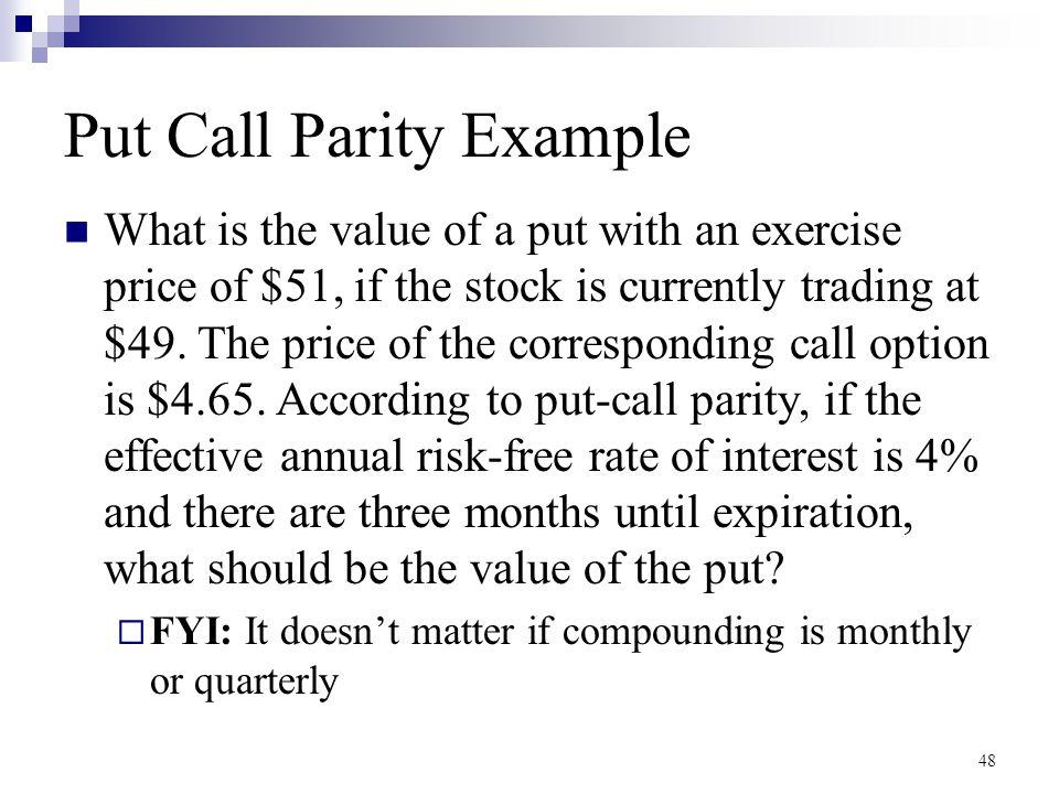 Put Call Parity Example