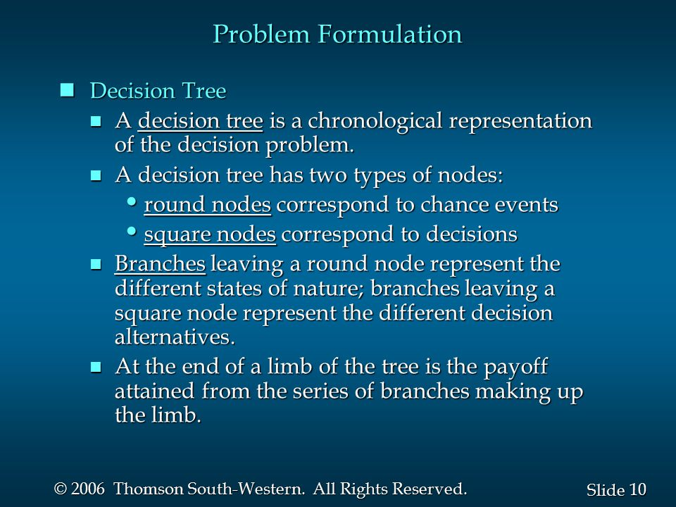 Problem Formulation Decision Tree