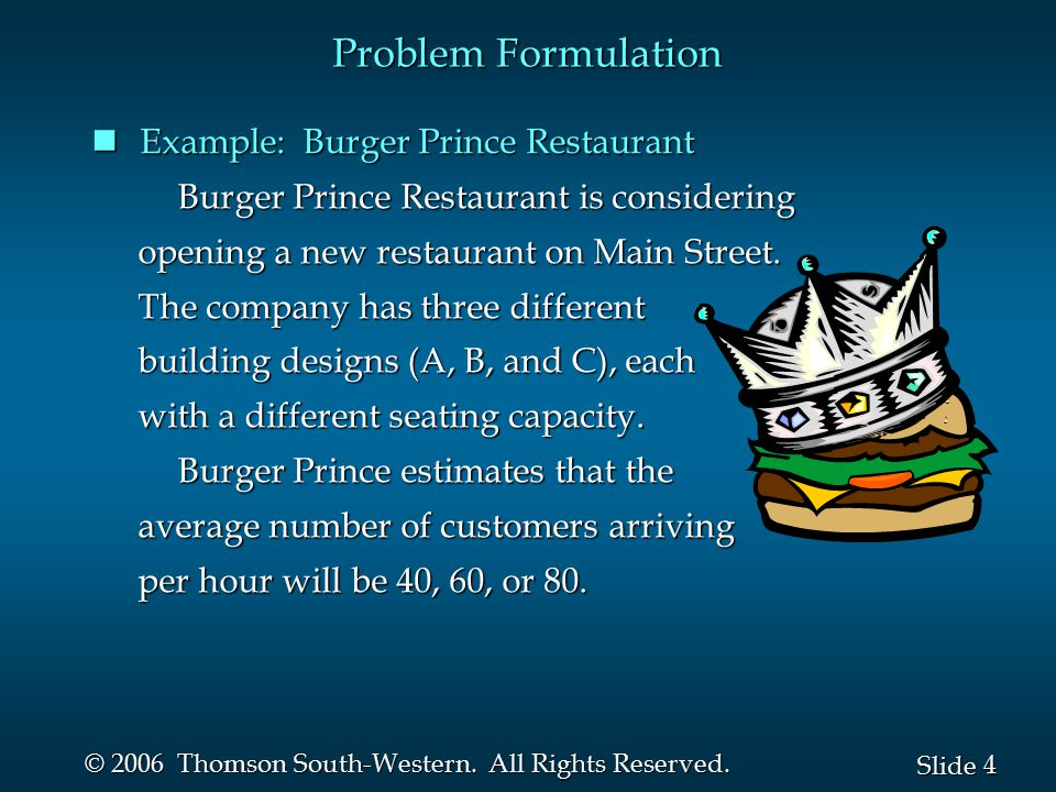 Problem Formulation Example: Burger Prince Restaurant