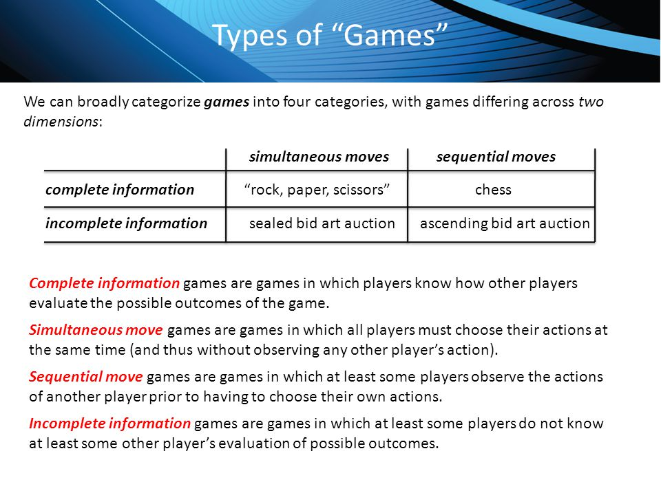 Types of Games We can broadly categorize games into four categories, with games differing across two dimensions: