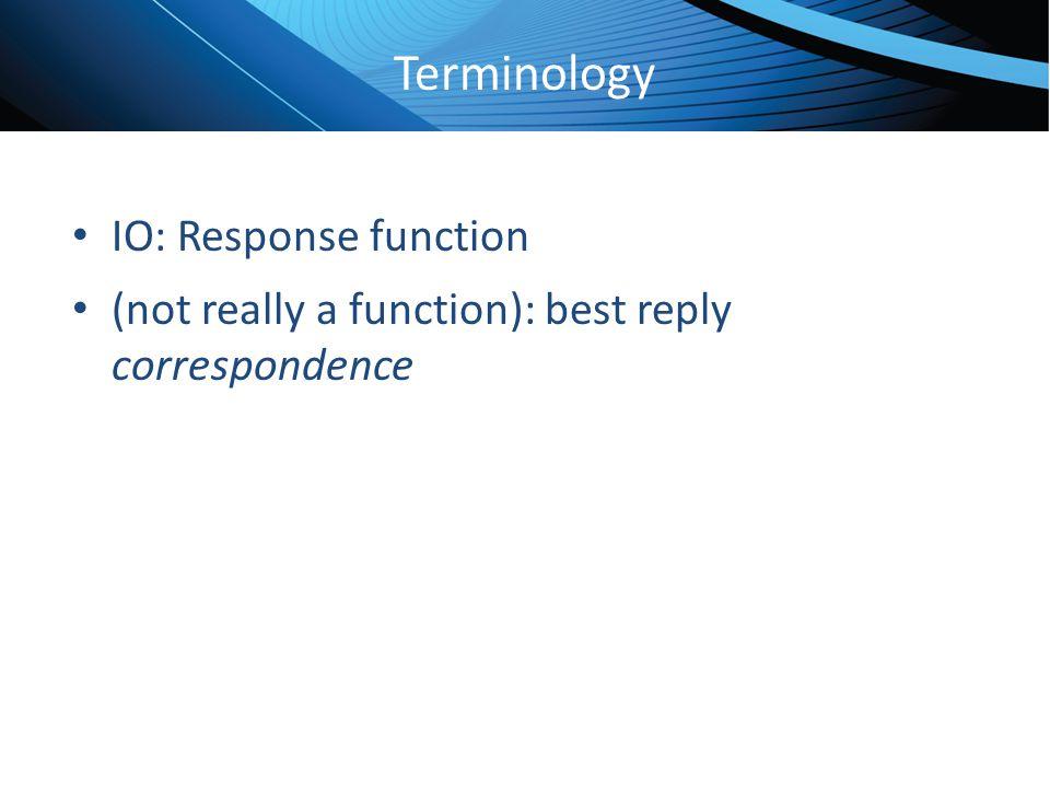 Terminology IO: Response function