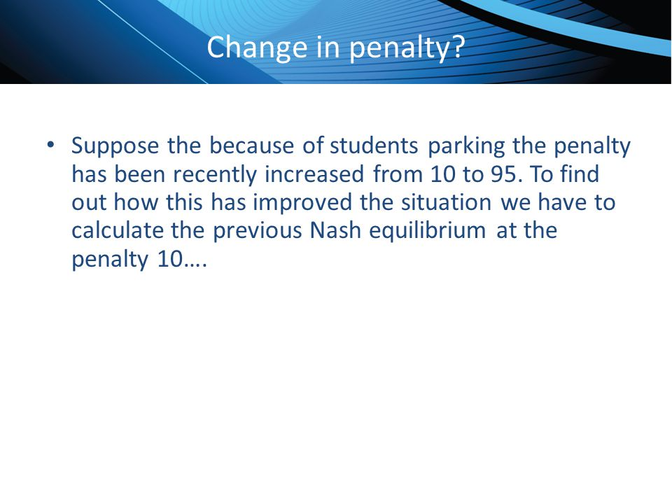 Change in penalty