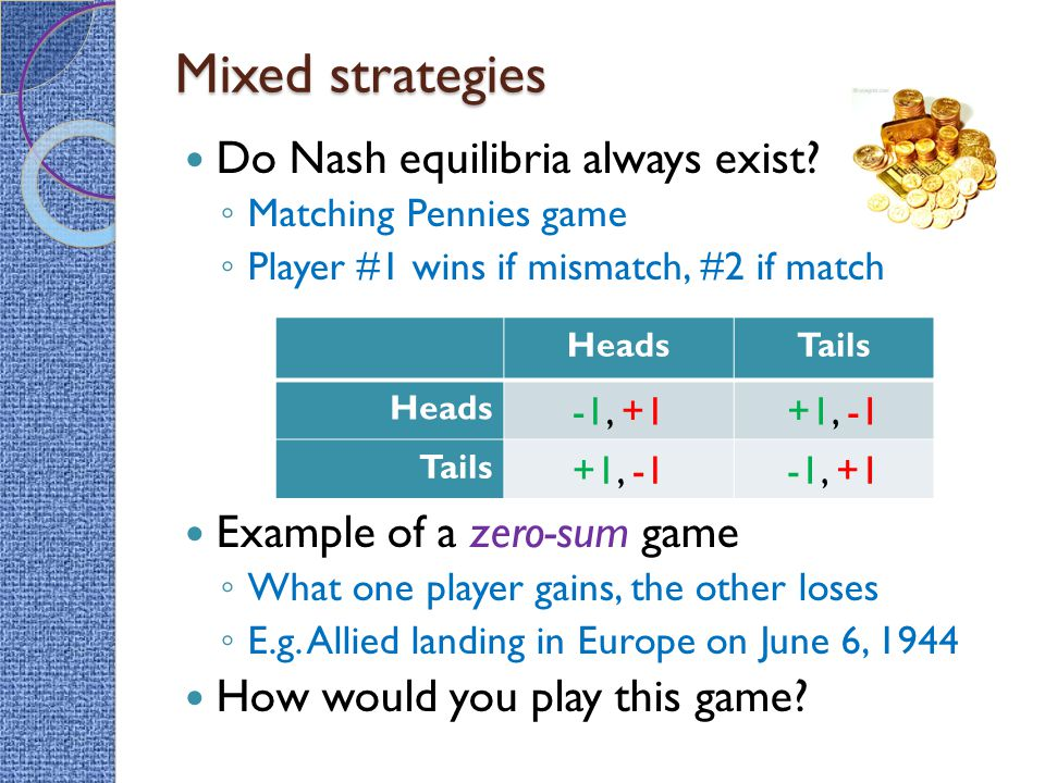 Mixed strategies Do Nash equilibria always exist