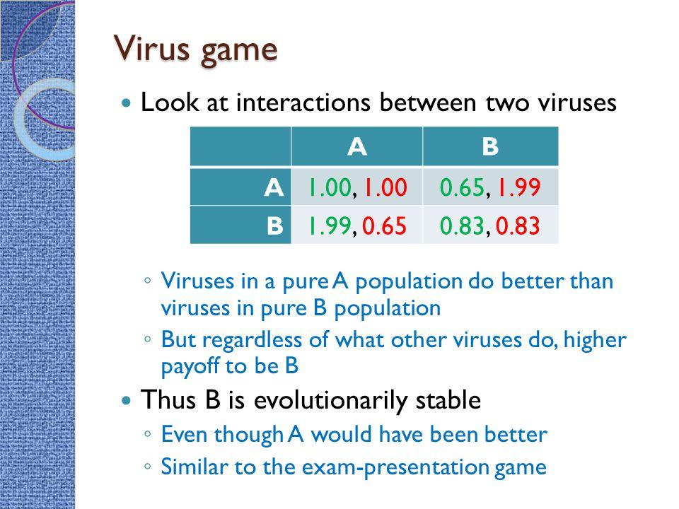 Virus game Look at interactions between two viruses