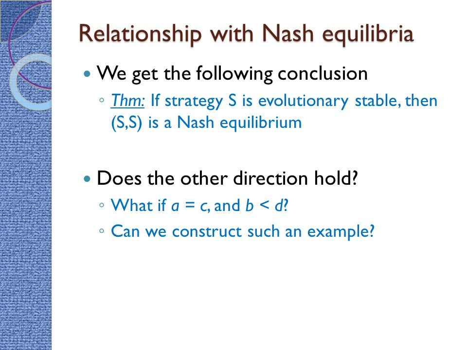 Relationship with Nash equilibria