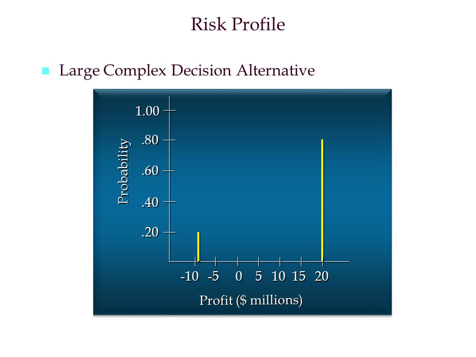 Risk Profile Large Complex Decision Alternative 1.00 .80 Probability