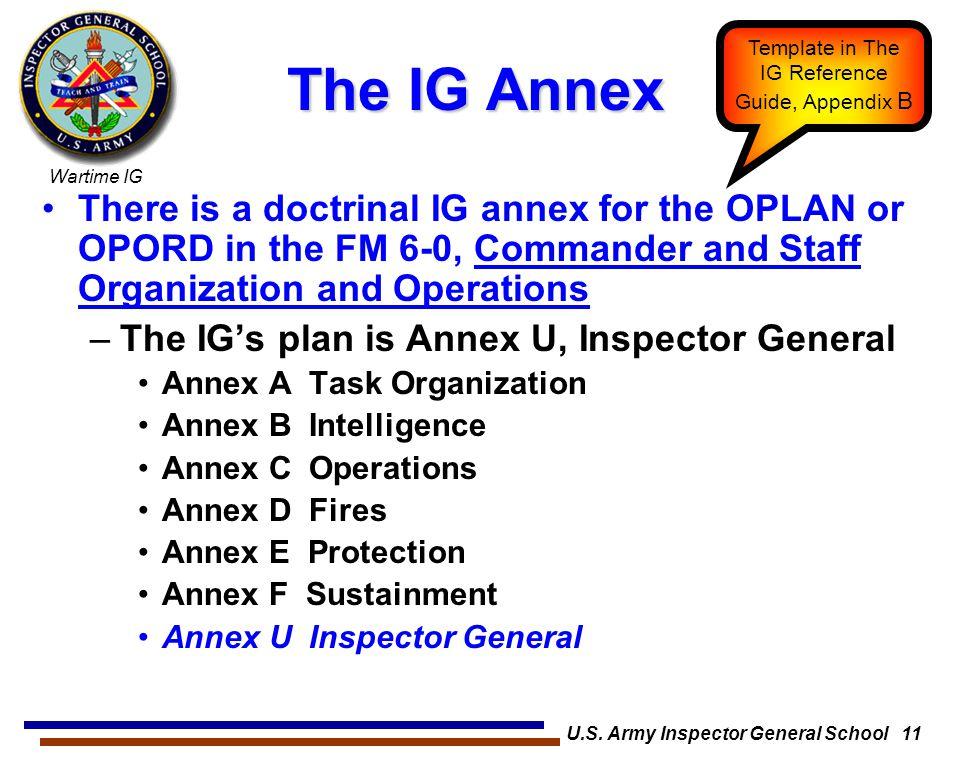 U.S. Army Inspector General School 11