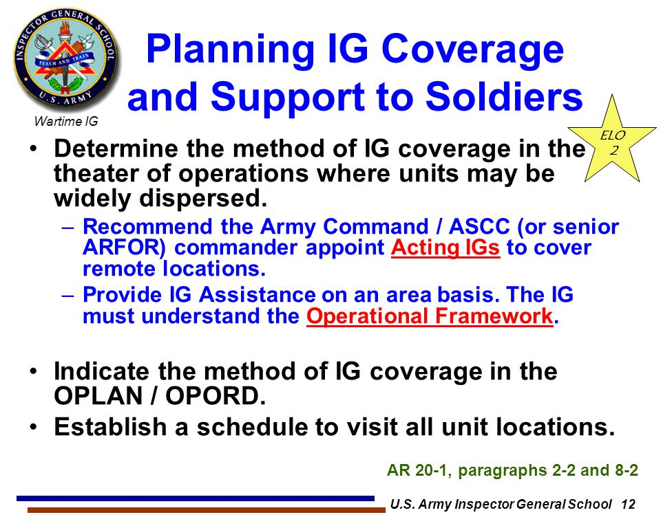 Planning IG Coverage and Support to Soldiers