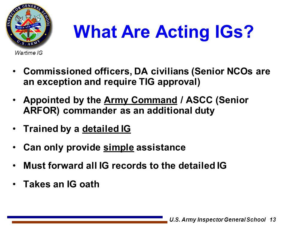 U.S. Army Inspector General School 13