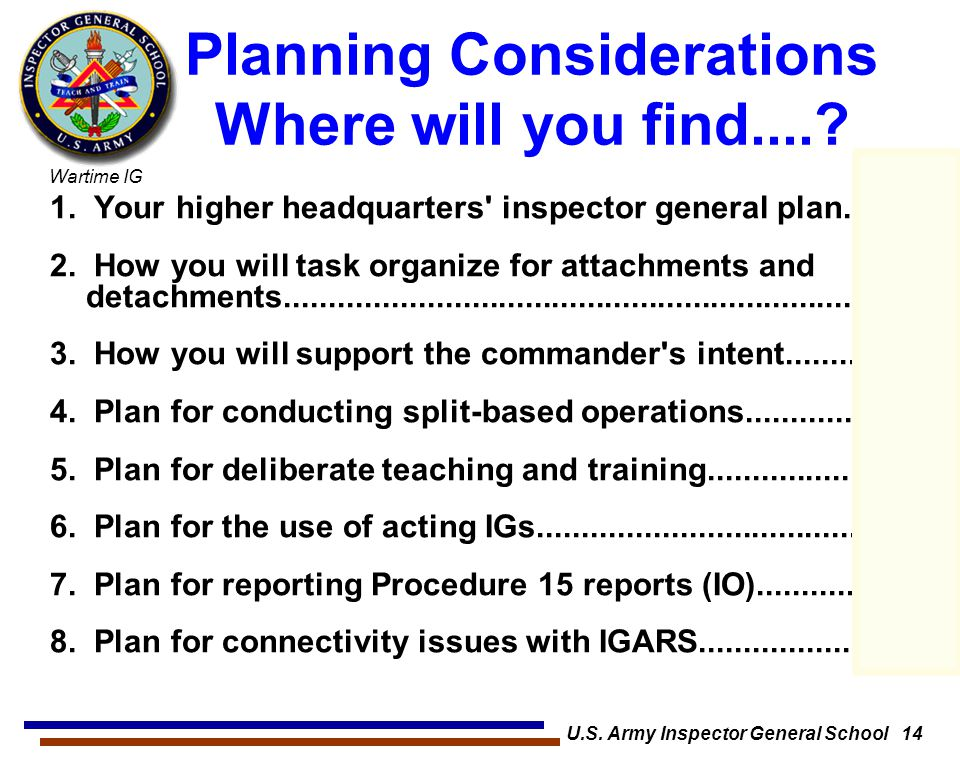 Planning Considerations Where will you find....