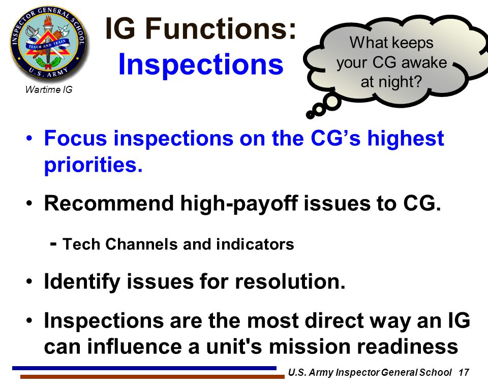 IG Functions: Inspections
