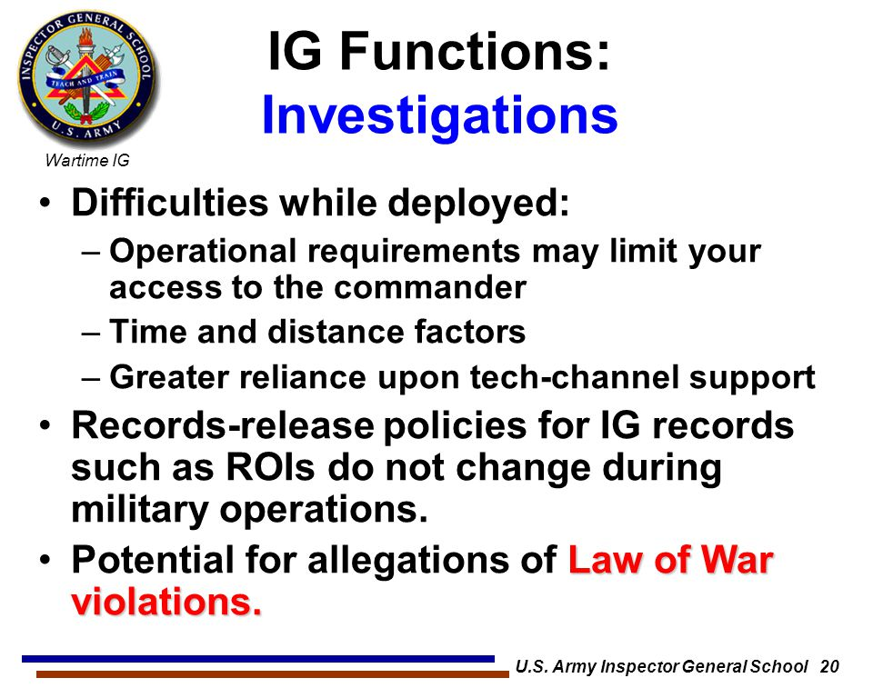IG Functions: Investigations