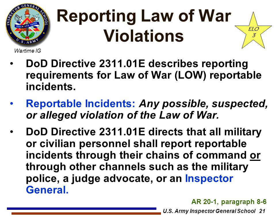 Reporting Law of War Violations