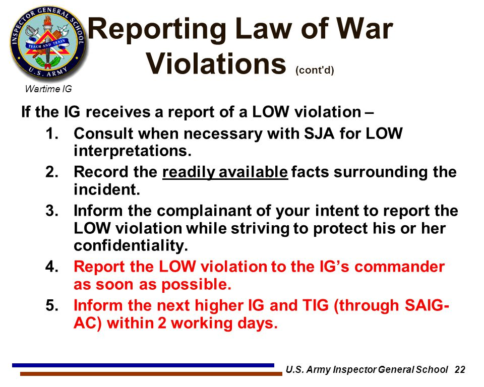 Reporting Law of War Violations (cont d)