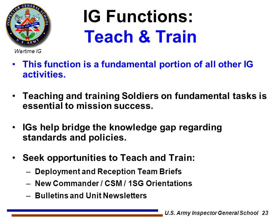 IG Functions: Teach & Train